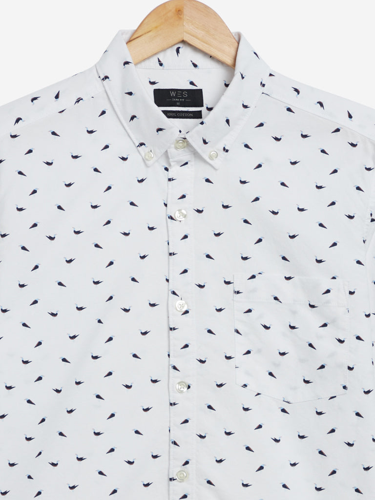 WES Casuals White Bird Printed Slim Fit Shirt