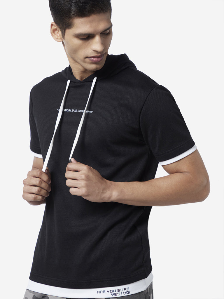 Studiofit Black Slim Fit Hooded T-Shirt