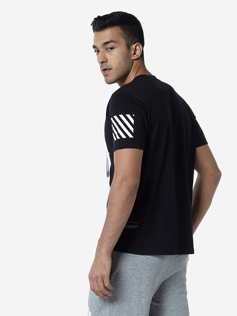 Studiofit Black Slim Fit Graphic Pattern T-Shirt