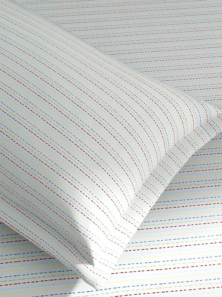 Westside Home Multicolour Striped Cotton Rich Single Bedsheet With One Pillowcase Set