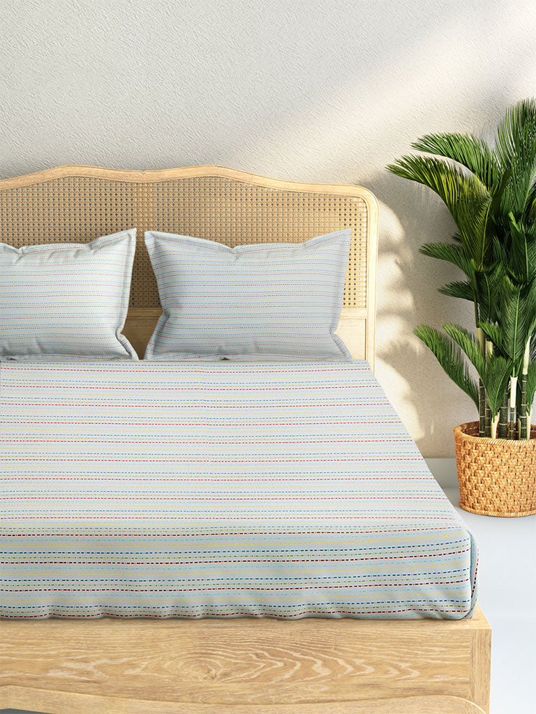 Westside Home Multicolour Striped Cotton Rich King Bedsheet With Two Pillowcases Set