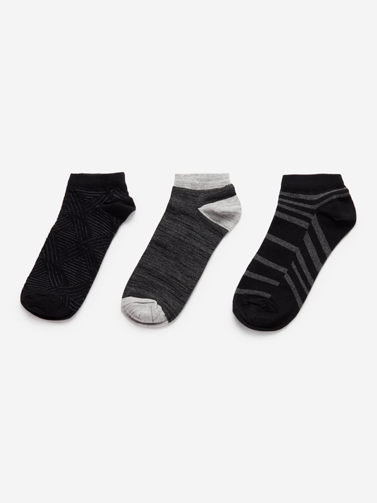 WES Lounge Black Printed Socks Pack Of Three
