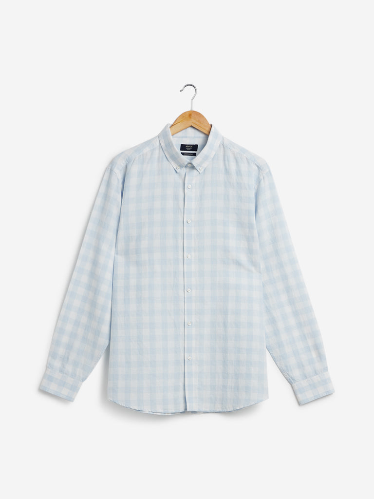 Ascot Light-Blue Checked Linen Relaxed Fit Shirt