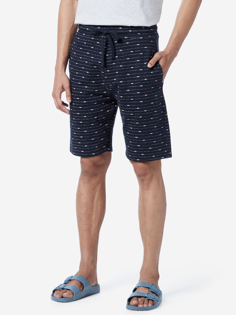 WES Lounge Navy Relaxed Fit Striped Shorts