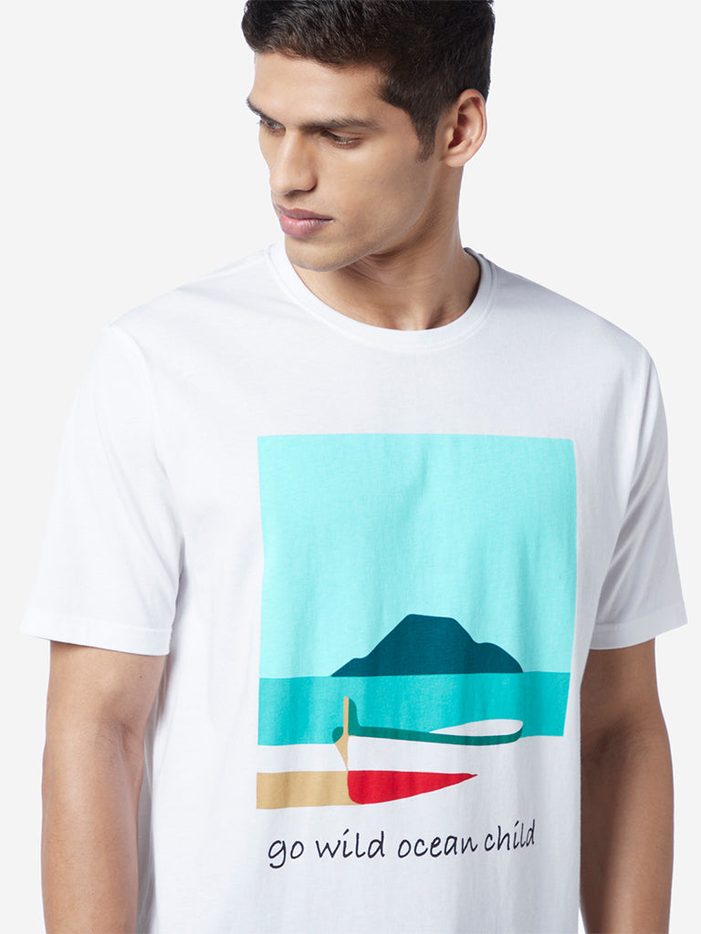 WES Lounge White Relaxed Fit Ocean Print T-Shirt