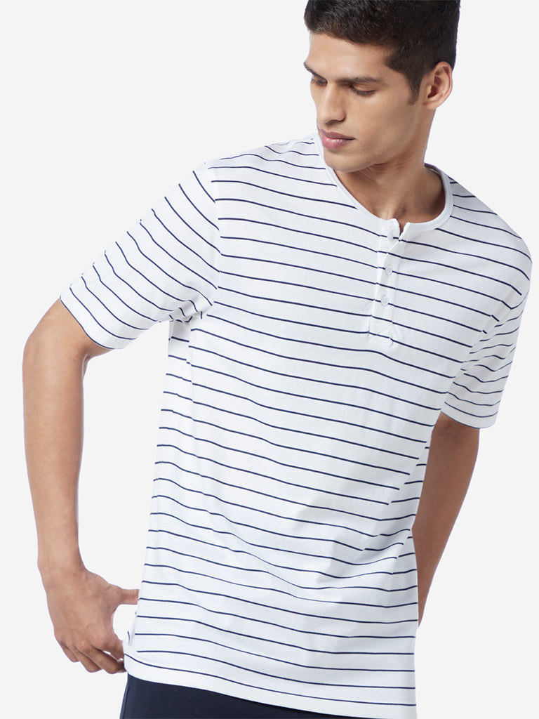 WES Lounge White Relaxed Fit Striped T-Shirt