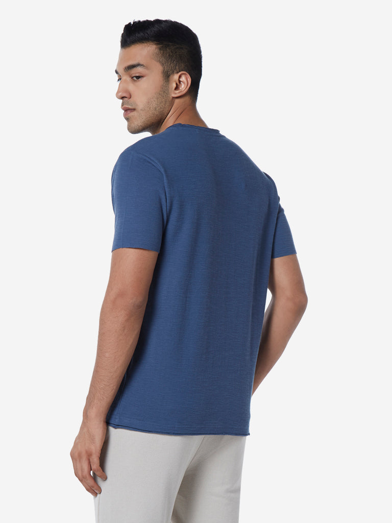 ETA Dark Blue Slim Fit Textured Crewneck T-Shirt