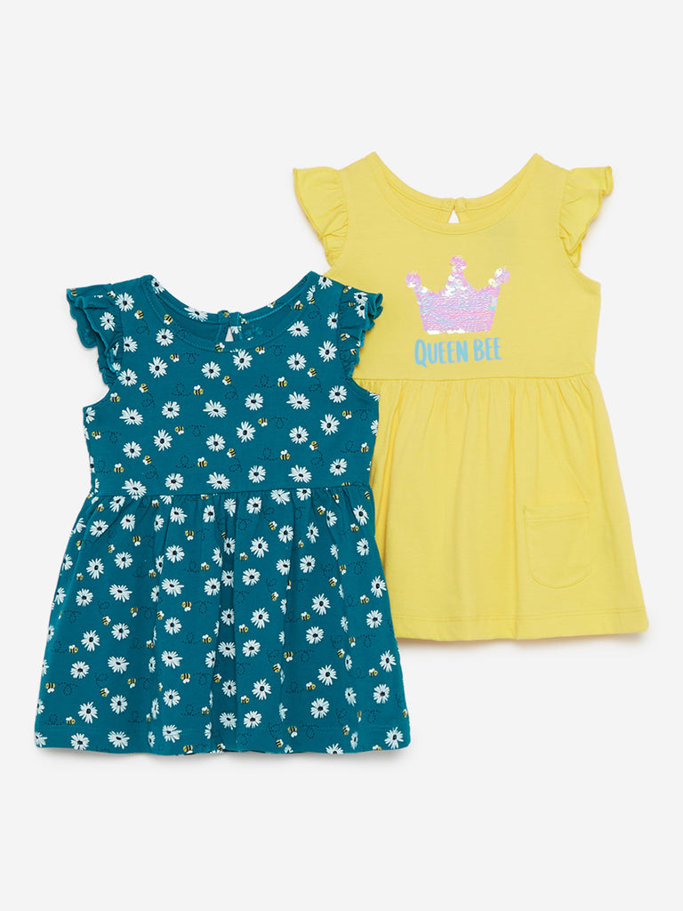 Baby HOP Green Honeybee Print Dress Set Of Two