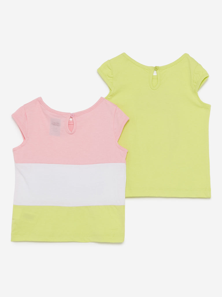 Baby HOP Lime Printed T-Shirt Set Of Two