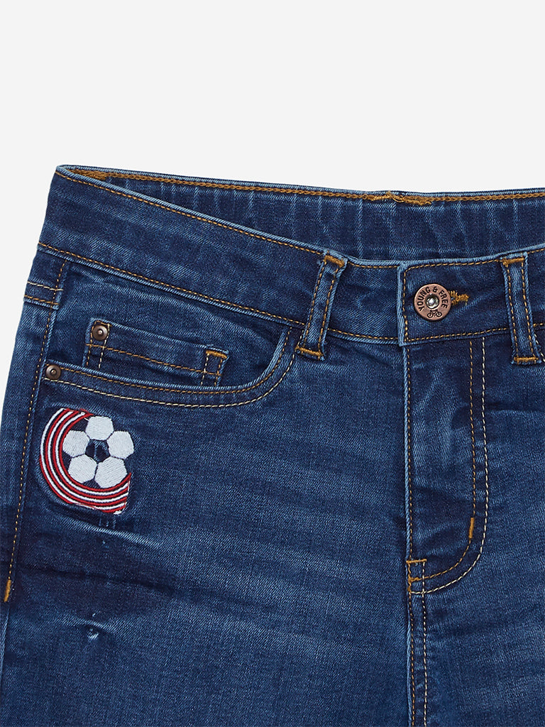 Y&F Kids Blue Applique Detailed Denim Shorts