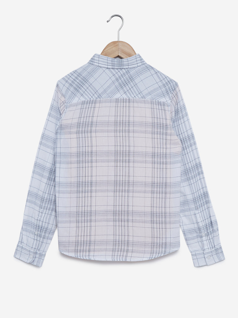 Y&F Kids White Checkered Shirt And T-Shirt Set