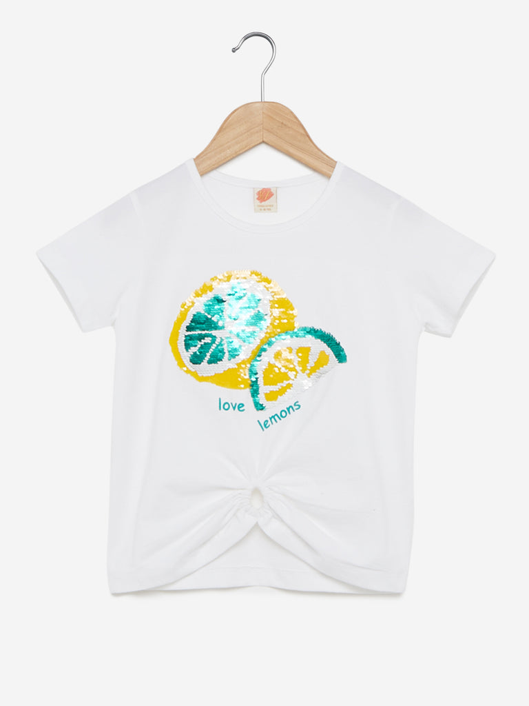 Y&F Kids White Sequin-Detailed Matte T-Shirt