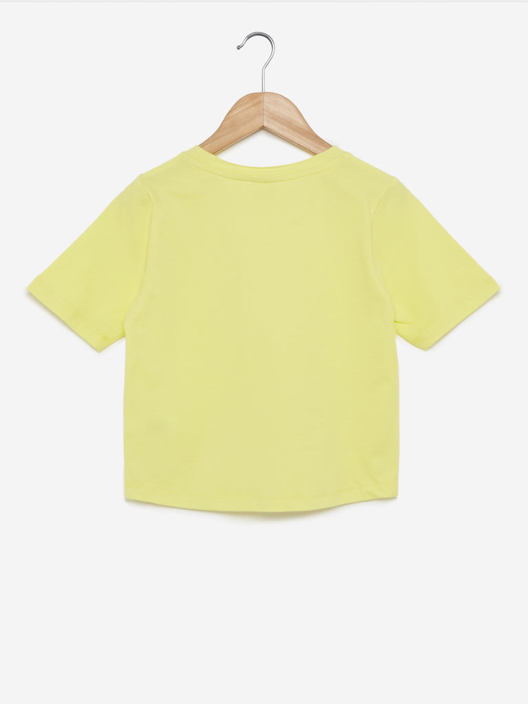 Y&F Kids Lime Sequinned Drupy T-Shirt