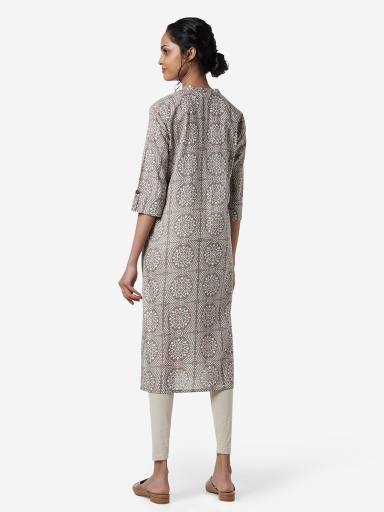 Utsa Grey Ethnic Printed Straight Kurta