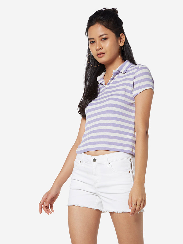 Nuon Lavender Striped Adder Crop Polo T-Shirt
