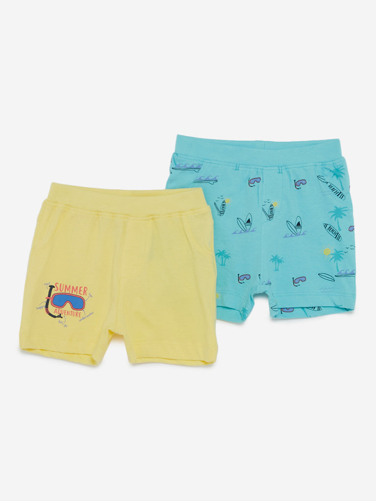 Baby HOP Yellow Surf Print Shorts Set Of Two