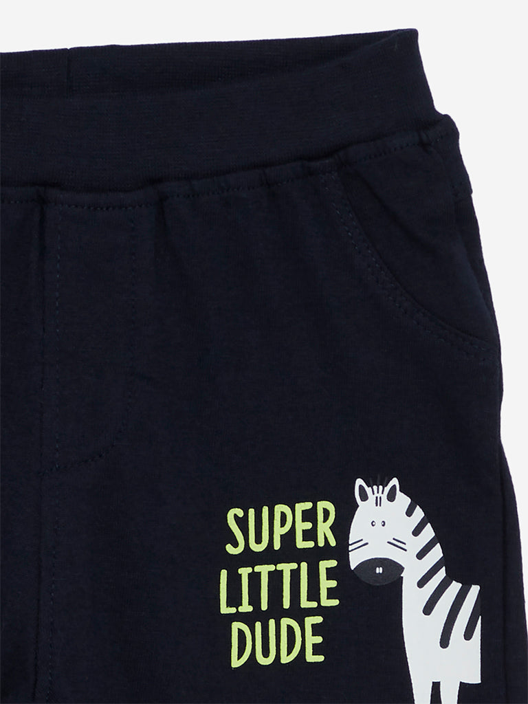 Baby HOP Lime Zebra Print Shorts Set Of Two