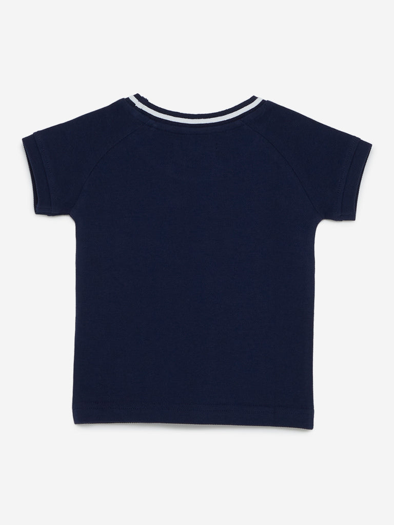 Baby HOP Indigo Appliqué-Detailed T-Shirt