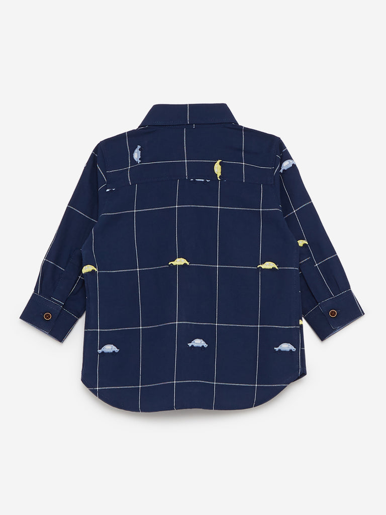 Baby HOP Navy Embroidered Cotton Shirt