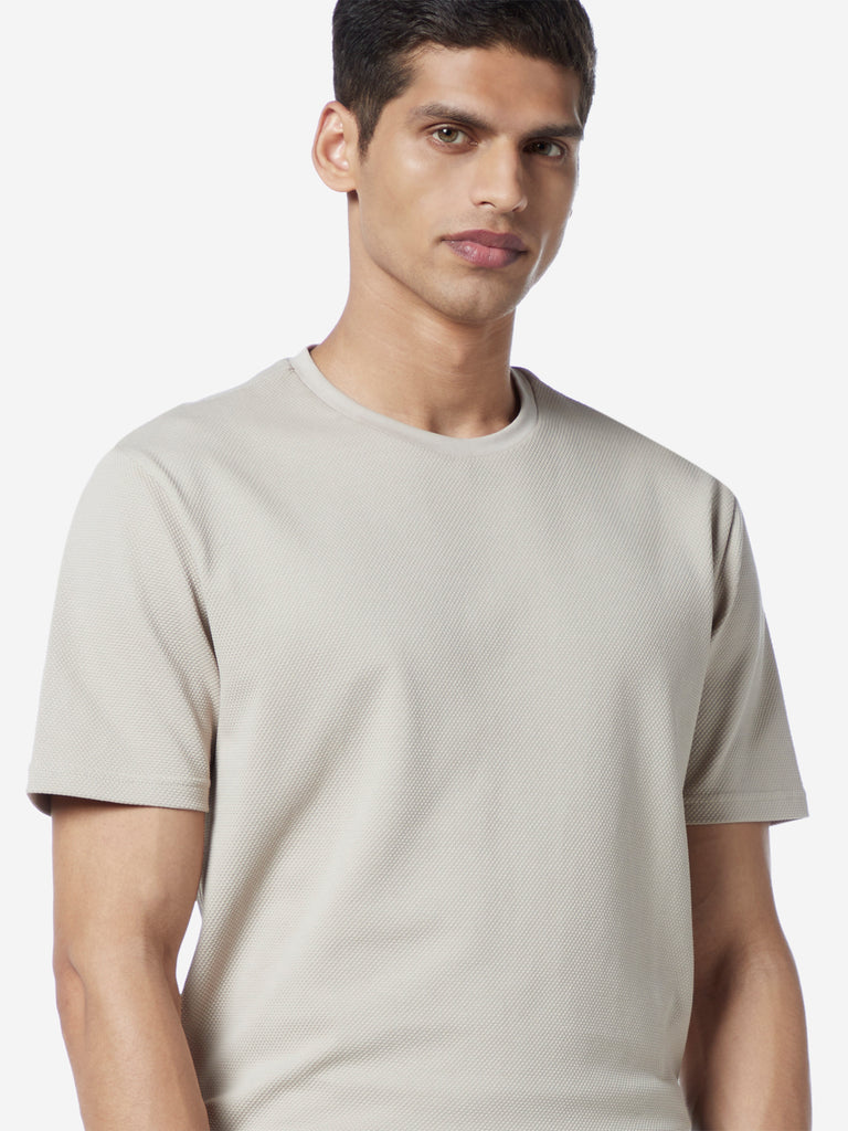 Ascot Taupe Self-Textured Slim Fit T-shirt