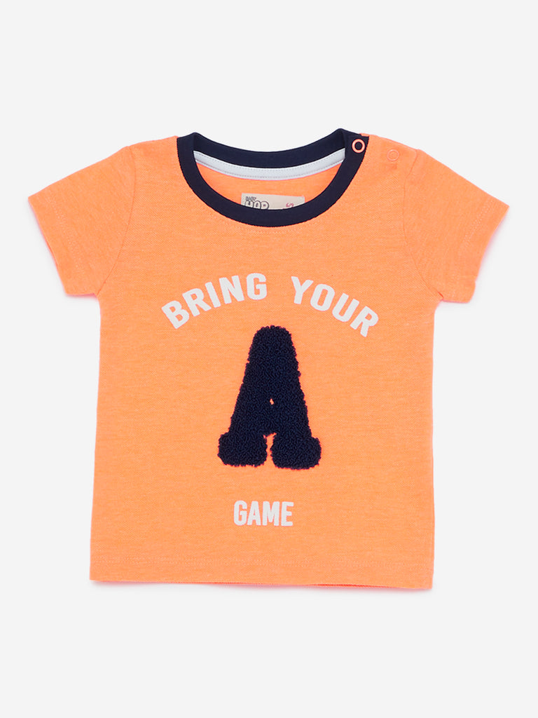 Baby HOP Neon Orange Text Print T-Shirt