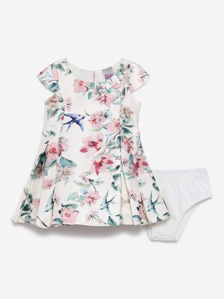 Baby HOP Off White Floral Dress With Briefs