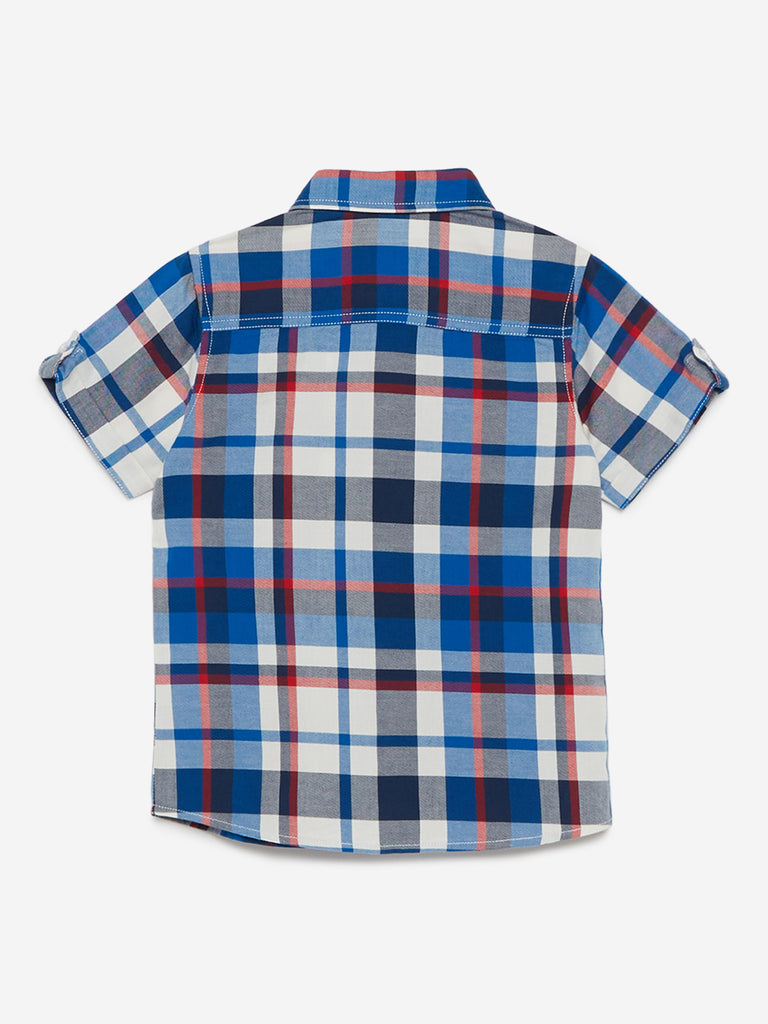 HOP Kids Blue Checkered Pure-Cotton Shirt