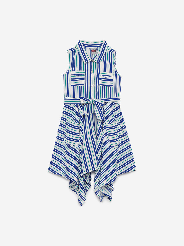 HOP Kids Blue Striped Zaima Dress With Belt