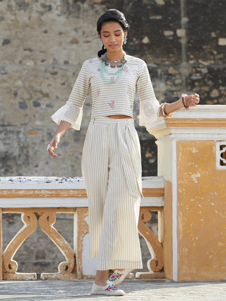 Bombay Paisley Off White Striped Crop-Top