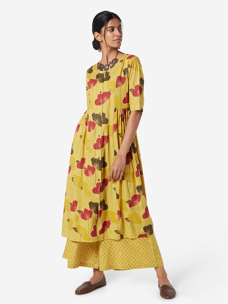 Utsa Mustard Floral Fit-And-Flare Kurta