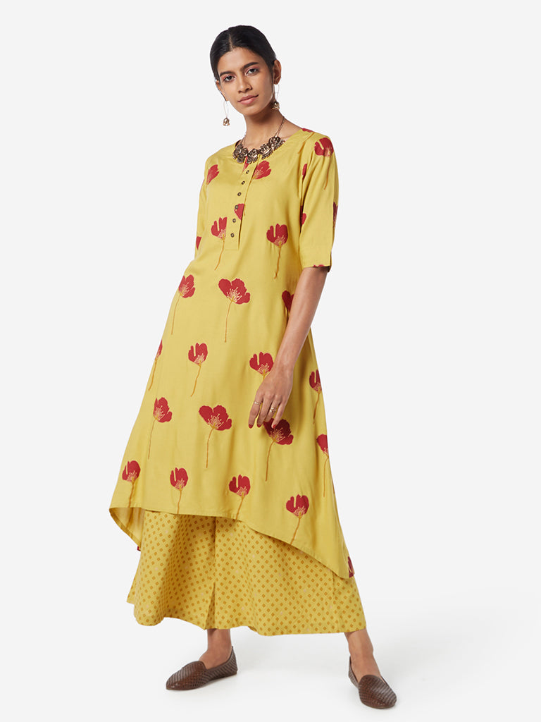 Utsa Mustard Floral Print High-Low Kurta