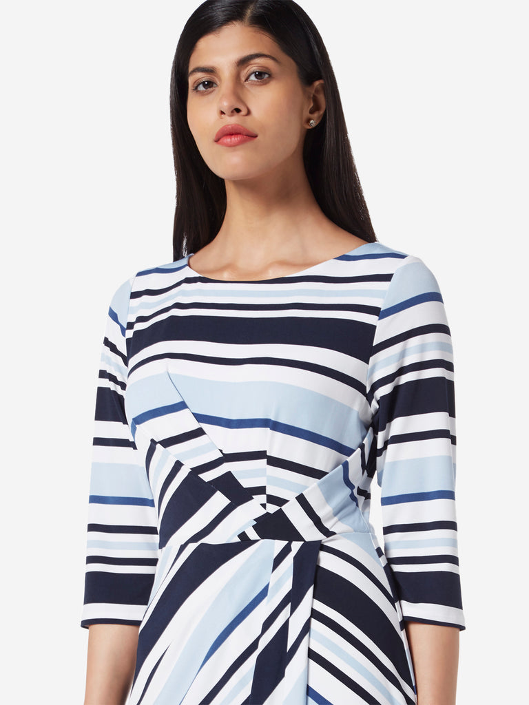 Wardrobe Blue Striped Strobe Dress