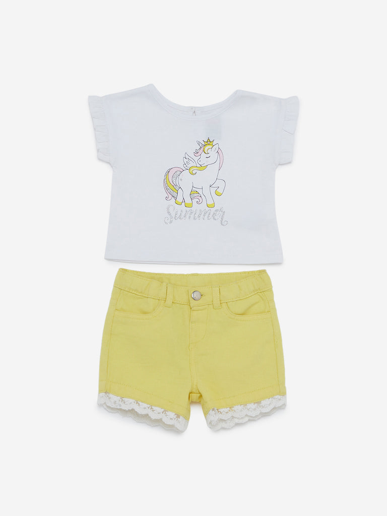 Baby HOP White Unicorn T-Shirt And Shorts Set