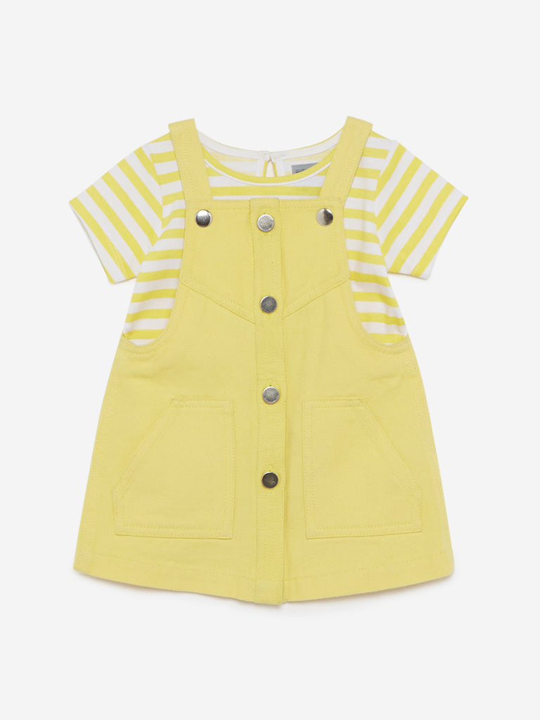 Baby HOP Yellow Striped T-Shirt And Pinafore Set