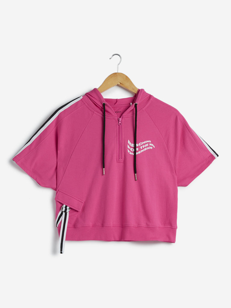 Studiofit Cropped Pink Printed T-Shirt with Hood