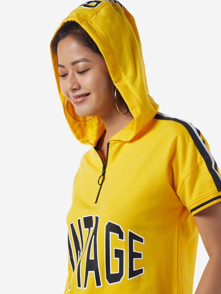 Studiofit Yellow Text Pattern Hooded Sweatshirt