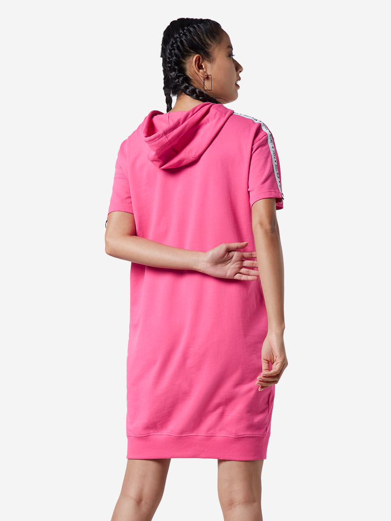 Studiofit Pink Text Printed Hooded Dress