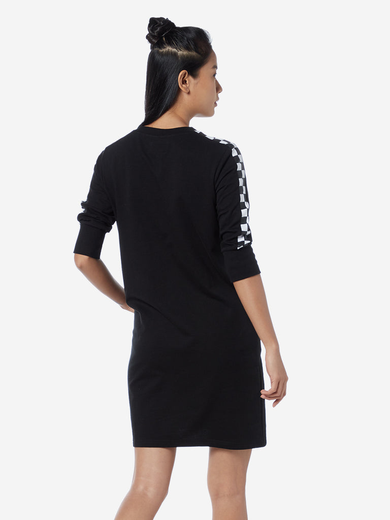 Studiofit Black Typographic Print Dress