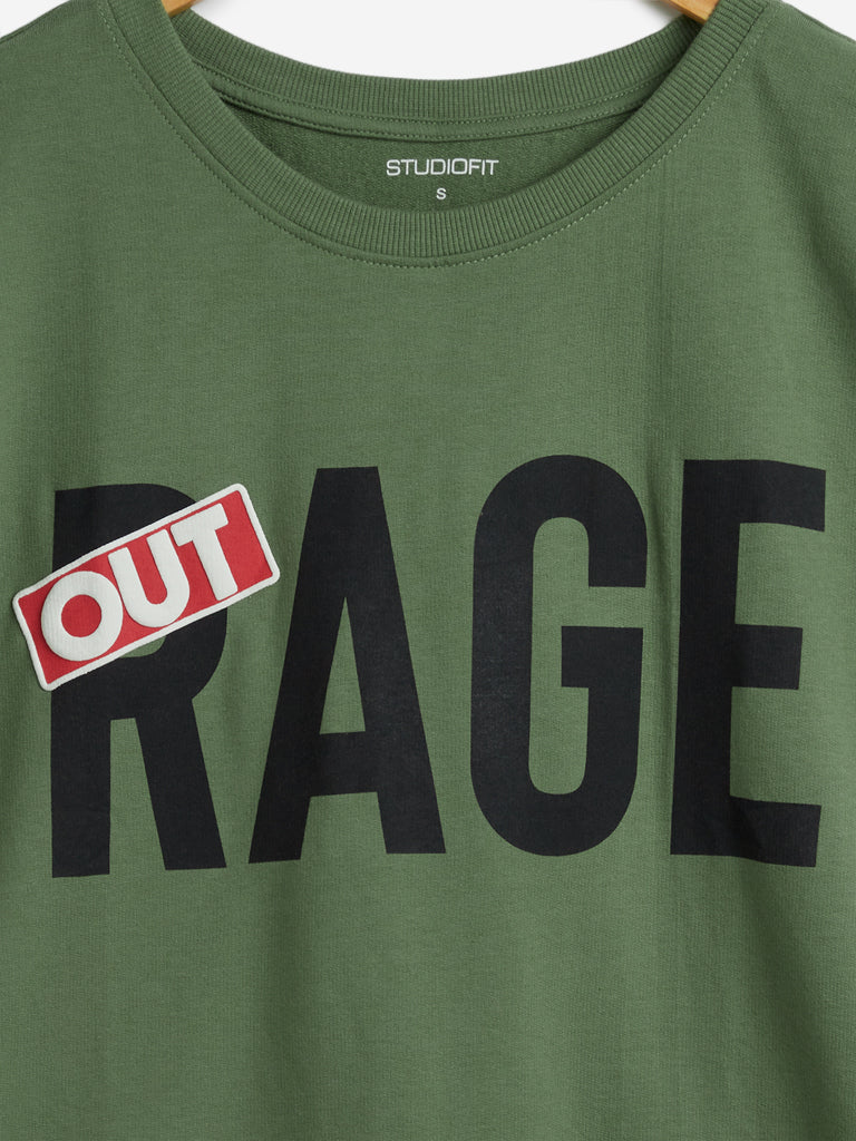 Studiofit Olive Text Printed T-Shirt