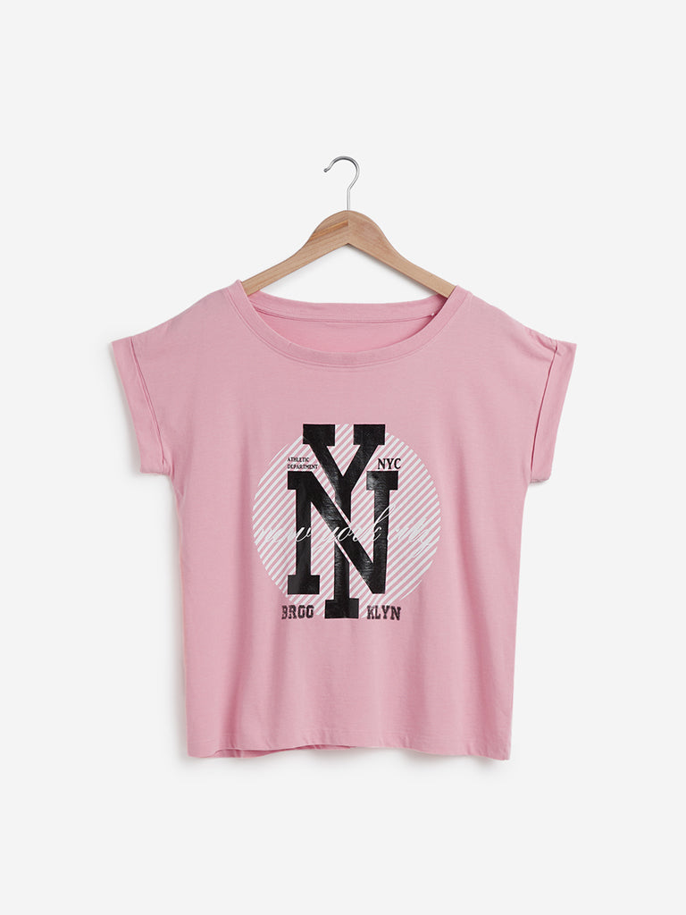 Studiofit Light Pink Text Print Power T-Shirt