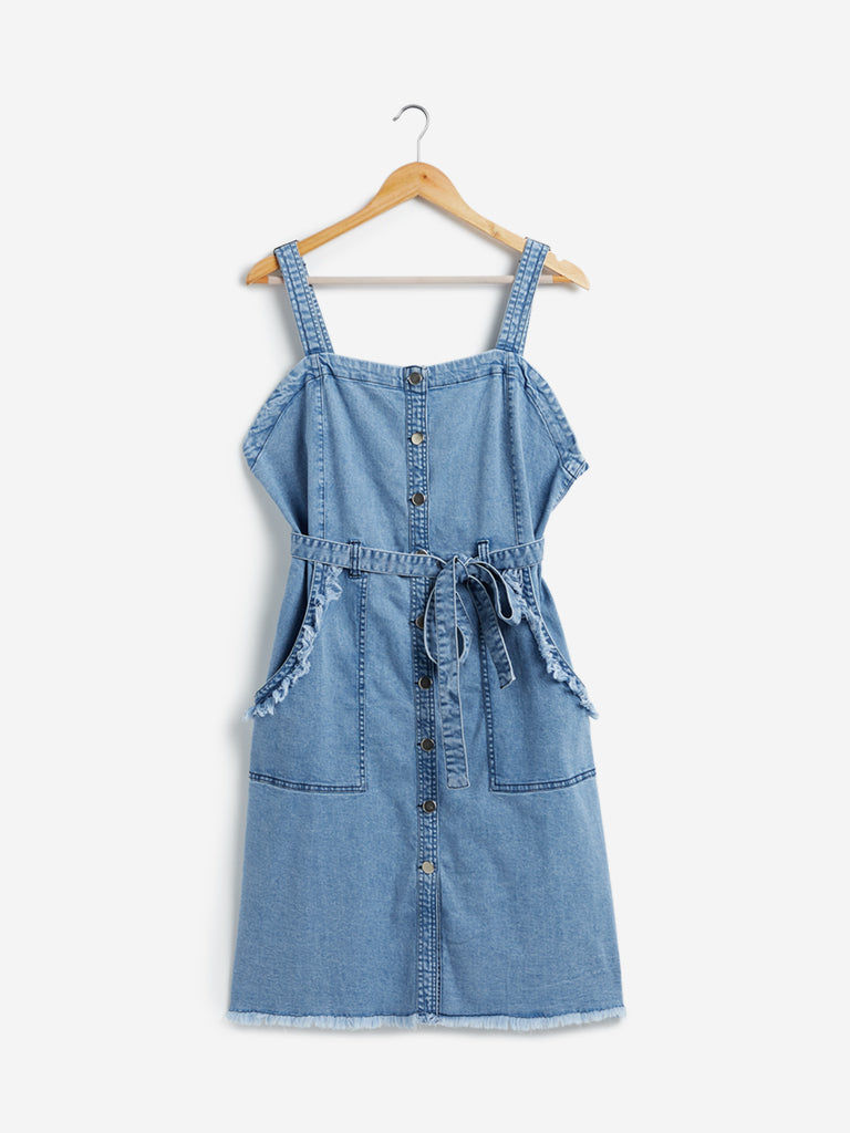 Sassy Soda Curves Blue Denim Dress with Belt