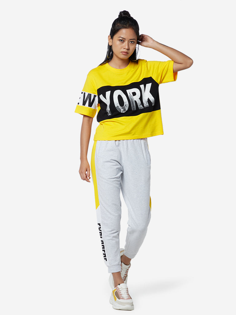 Studiofit Yellow New York Skyline Print T-Shirt