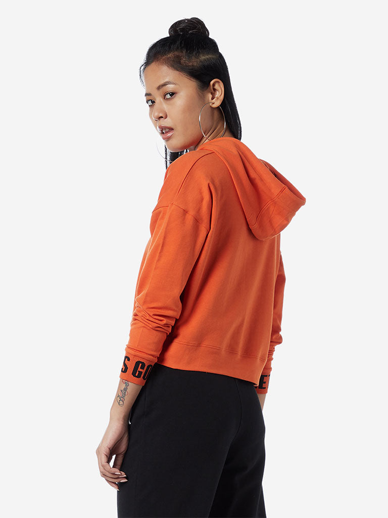 Studiofit Orange Text Hooded Crop Sweatshirt