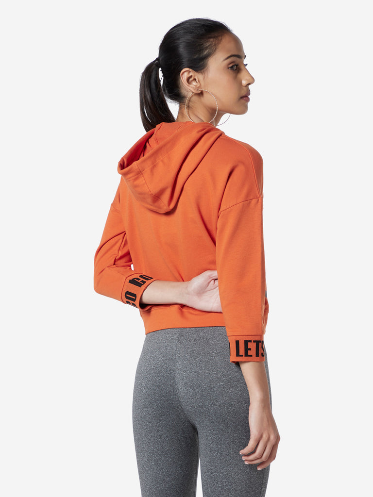 Studiofit Orange Text Print T-Shirt