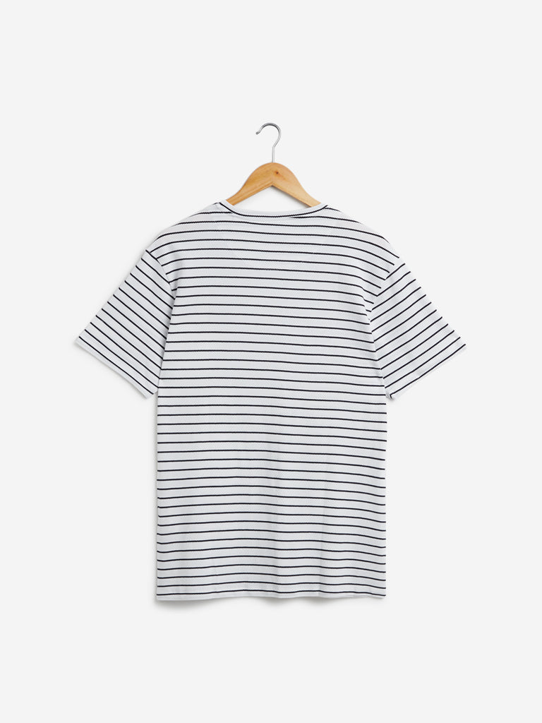 Ascot White Striped Relaxed Fit T-Shirt