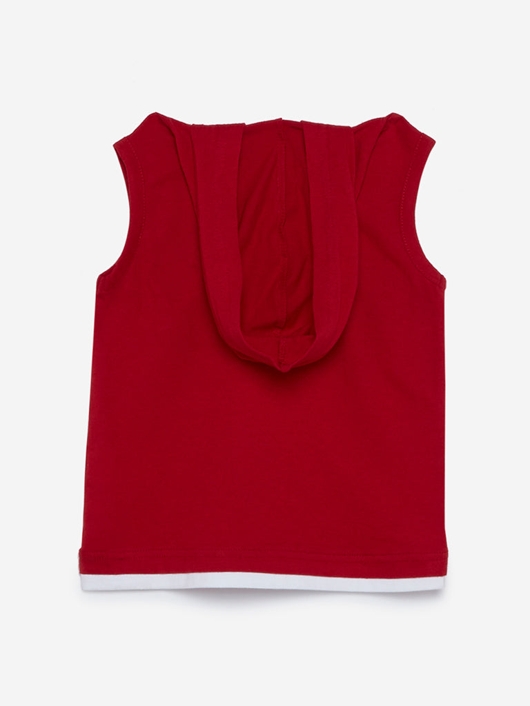 HOP Kids Red Printed Hooded Tank T-Shirt