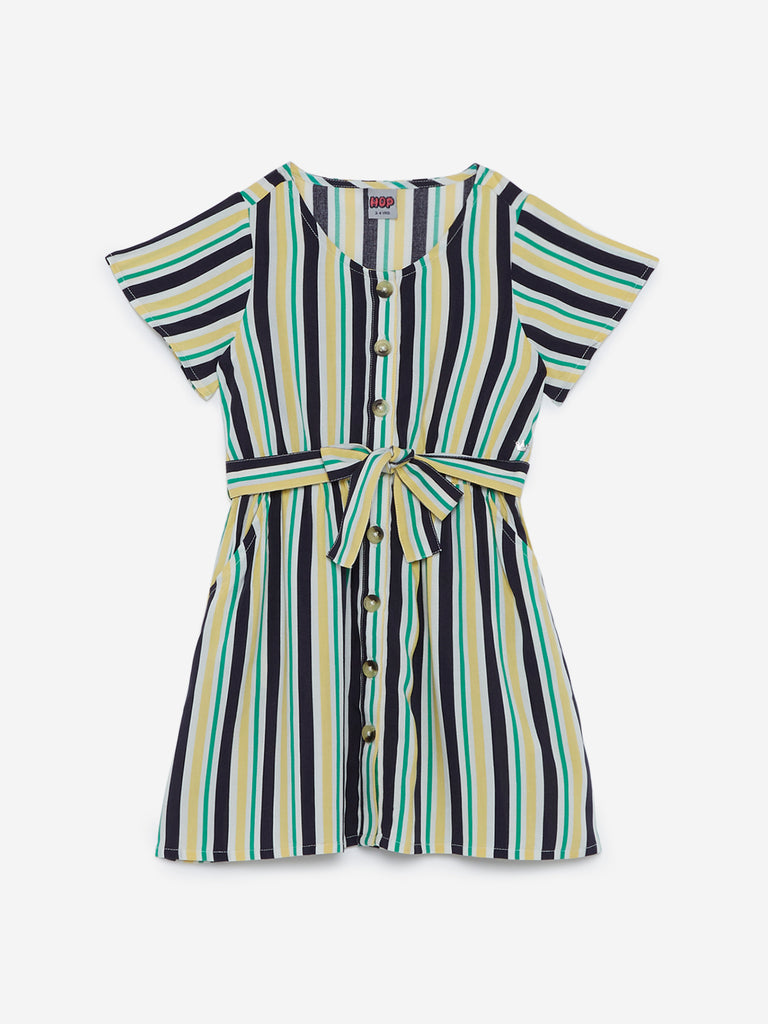 HOP Kids Green Striped Dress With Belt