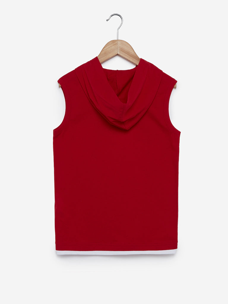 Y&F Kids Red Printed Hooded Tank T-Shirt