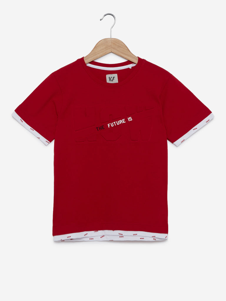 Y&F Kids Red Text Embossed T-Shirt
