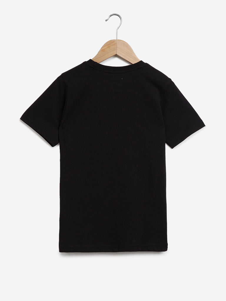 Y&F Kids Black Text Patterned Cotton T-Shirt